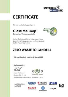 Zero Waste To Landfill certificate