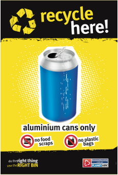 Recycling bin sticker - noticeable and self-explanatory