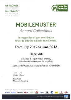 MobileMuster Collection Certificate 2012-13