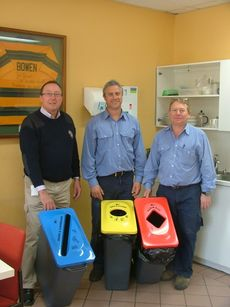 Armidale Dumaresq Council caretakers with the new recycling bin clusters